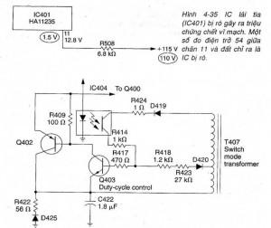 Sharp C1335A với mạch công suất bị ngắn mạch